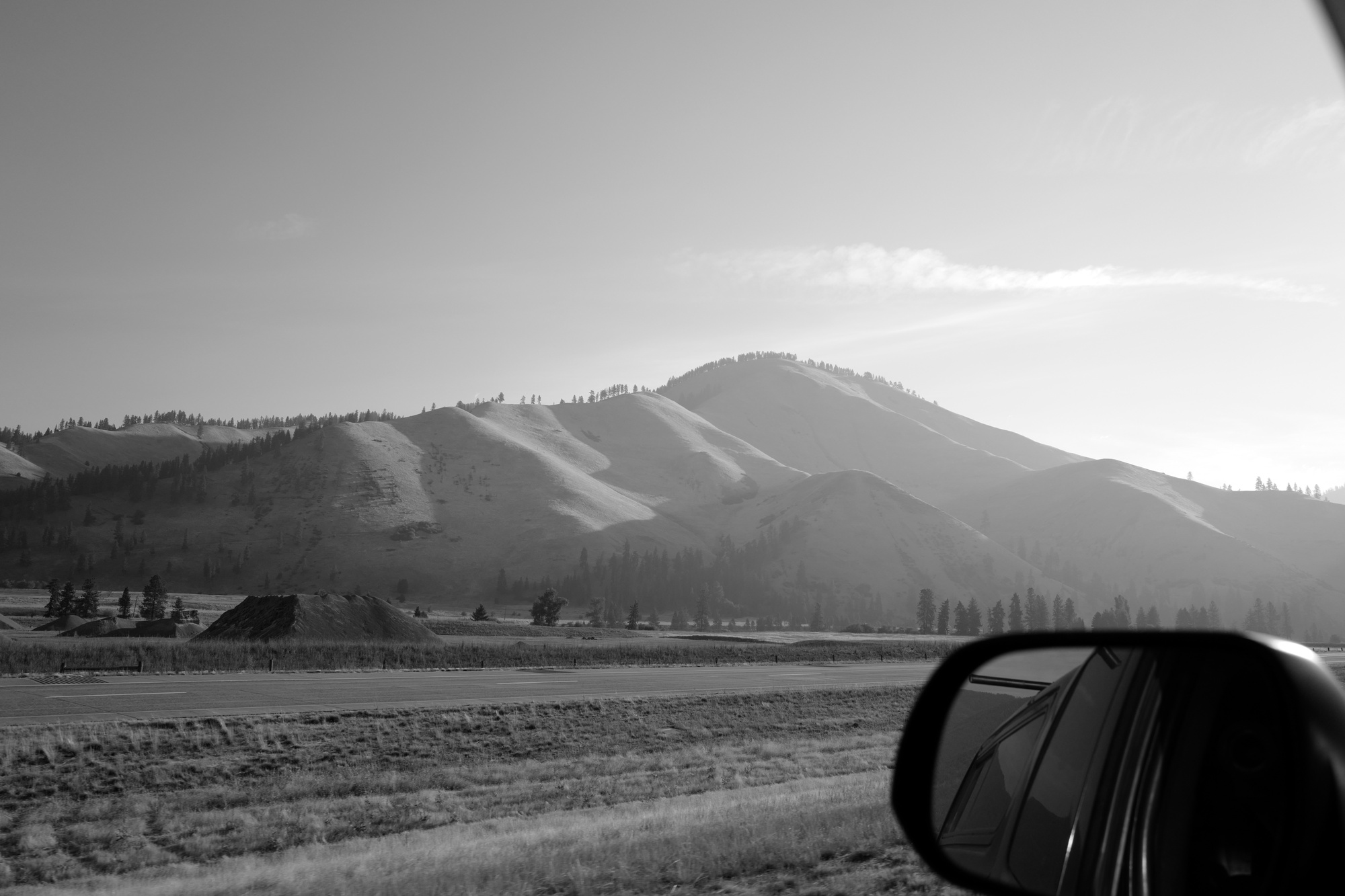 Montana, on the road, b&w